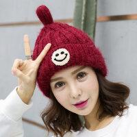 韩国时尚百搭加绒加厚护耳毛线帽帽子女潮可爱保暖针织帽