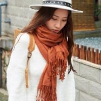 韩版学生披肩两用仿羊绒加厚围巾女冬季纯色围巾女