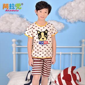 阿拉兜小男孩夏季短袖纯棉儿童睡衣 大中童卡通男童薄款家居服两件套装 37891