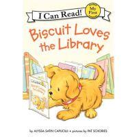 小饼干狗 英文原版 绘本汪培�E书单推荐 0-3岁 Biscuit Loves the Library (My First