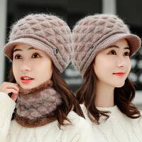 中老年人时尚帽子女秋冬季加绒保暖妈妈老太太奶奶兔毛老人帽围巾一体