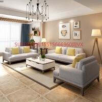北欧沙发客厅小户型简约现代布艺沙发组合三人位可拆洗整装123 胡桃色 胡桃色 +茶几1.2米+电视柜1.8米