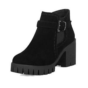 ELEISE美国艾蕾莎新品秋冬150-78-3韩版磨砂绒面高粗跟女士女靴短靴马丁靴