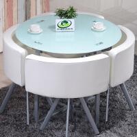 钢化玻璃圆形接待桌椅洽谈桌椅组合 简约奶茶门店铺咖啡厅小圆台