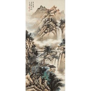 F2411黄君璧《 观瀑图》(原装旧裱,满斑)