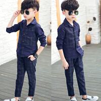 *儿童装男童长袖潮韩版衬衫两件套装2018春装新款MM A536