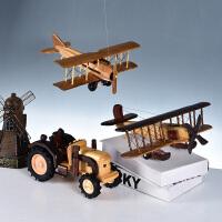 复古老爷车模型摆件家居实木飞机玄关小摆设客厅酒柜办公室装饰品