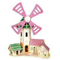 3D立体拼图木质拼装房子仿真建筑模型手工益智玩具童心风车小屋