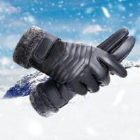 男士保暖皮手套户外骑车加厚手套骑行摩托车防风防寒