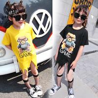女童打底衫夏装新款童装韩版儿童可爱水钻下摆短袖童装T恤