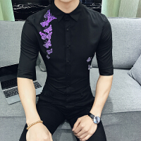 夏季韩版男士衬衫中袖日系潮流修身英伦发型师五分袖蝴蝶刺绣衬衣