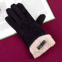 女冬保暖加厚开车防滑触控手套女可爱毛口麂皮绒手套