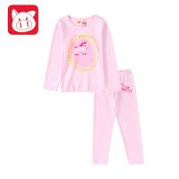 小猪班纳童装女童家居服套装2018秋冬装新款儿童睡衣睡裤两件套
