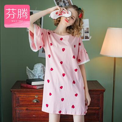 芬腾 睡衣女士夏季纯棉薄款短袖套头睡裙可爱草莓印花休闲家居服睡裙女