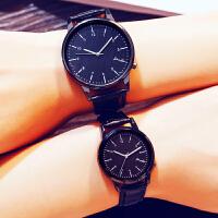 韩版时尚简约女表皮带男表潮 学生休闲复古 情侣超薄防水石英手表