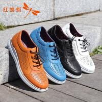 红蜻蜓男鞋新款低跟平底圆头透气舒适时尚百搭休闲鞋