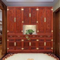 新中式入户鞋柜玄关柜到顶实木门厅隔断门口整体鞋柜定制定做 整装