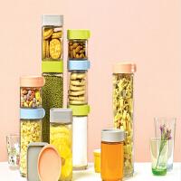 三光云彩 韩国进口玻璃积木式储物罐三件礼盒套装杂粮密封保鲜罐家用透明玻璃罐