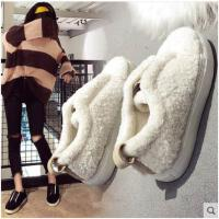新款冬季韩版原宿百搭豹纹加绒懒人鞋女平底休闲学生面包棉鞋