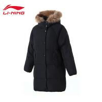 李宁长羽绒服女士2018新款运动生活系列保暖女装冬季休闲运动服