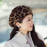 女士帽子女贝雷时尚韩版潮搭 保暖豹纹妈妈蓓蕾帽