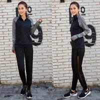 大码运动套装胖mm200斤跑步长裤女装微胖健身瑜伽服两件套