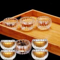 高硼硅耐热玻璃双层品杯50ml花茶杯时尚功夫茶具南瓜纹小茶杯套装闻香品茗杯
