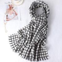 秋冬季千鸟格黑色披肩两用针织格子加厚冬天仿羊绒围巾女