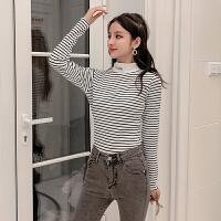 针织衫 女士半高领条纹针织衫2020冬季新款韩版女式修身长袖打底衫学生休闲大码女装毛衣