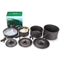 4-5人户外野营锅套装 便携式野营炊具野营不粘套锅 野外野餐
