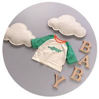 男童长袖t恤0-1-2岁春秋夏薄款宝宝圆领打底衫卡通婴儿衣服3月6潮