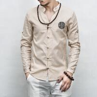 春季亚麻休闲盘扣刺绣衬衫中国风长袖衬衣中式复古唐装男士衬衫