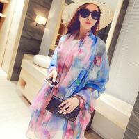 韩版女士印花防晒围巾沙滩巾披肩两用大加长雪纺丝巾纱巾