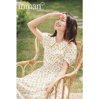 茵曼夏季可甜可盐连衣裙新款短袖黄色印花裙子女收腰中长裙【1802484】