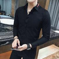长袖衬衫村杉黑色寸衫男士衬衣韩版修身潮流衬衫工装商务正装大码