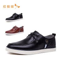 【专柜正品】红蜻蜓系带纯色低跟舒适时尚男单鞋