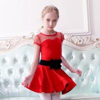 儿童拉丁舞裙少儿演出服装女童舞蹈服短袖幼儿体操练功服