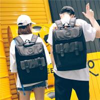 牛津布全防水电脑包背包双肩包男时尚潮流旅行包高中生书包女学生 黑色