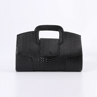 女手包2018新款蛇纹真皮手拿包女欧美潮时尚手提女包手提小包包 黑色
