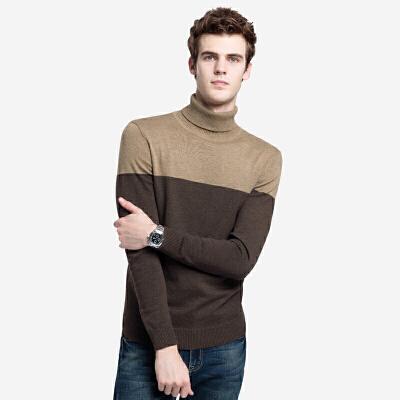 骆驼男装 秋冬新款青年修身撞色上衣套头高领休闲长袖毛衣男