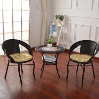 户外藤条椅子茶几三件套装室腾阳台休闲桌椅组合咖啡厅编织小圆桌 1桌2椅咖啡色【普通款】 *包