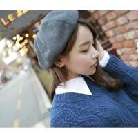 新款韩版贝雷帽子女士秋冬季画家帽复古英伦毛呢南瓜帽韩国八角帽