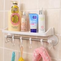 带挂钩吸盘置物架/卫生间用品挂钩 浴室毛巾架 吸盘收纳架 白色