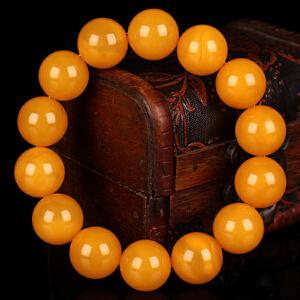 蜜蜡满蜡无伤无杂无裂圆珠手串 直径16.5mm 重量35.8g