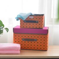 储物箱浪漫爱心衣物收纳箱有盖扣扣箱布艺儿童衣服储物箱 无纺布布艺杂物整理箱储物箱-单个装小号收纳箱 橙