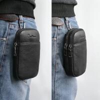 新款男穿皮带手机腰包迷你真皮男包手机包男袋休闲牛皮户外小背包
