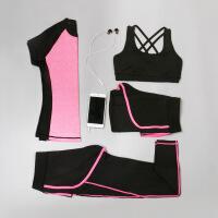 新款瑜伽服套装女跑步服显瘦修身运动健身服四件套速干衣背心长裤
