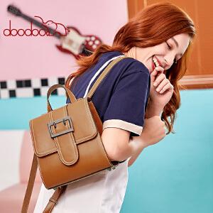 【支持礼品卡】doodoo双肩包女2018新款款时尚韩版学院风学生书包百搭双肩背包AD8636