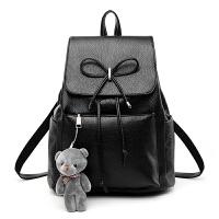 12新款双肩包女pu皮韩版新款时尚背包女士大容量包包书包学生女包潮 黑色(小熊/卡包/香包)