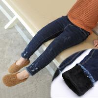 女童加绒牛仔裤 双12秋冬新款修身弹力加绒加厚牛仔裤休闲裤子